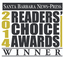 """Winner"" badge for the Santa Barbara News-Press ""2014 Best of Santa Barbara"" awards."